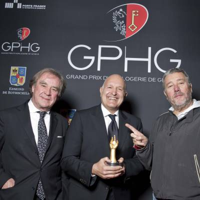Michele Sofisti, CEO of Girard-Perregaux, winner of the « Aiguille d'Or » 2013, with Philippe Starck and Jean-Michel Wilmotte, jury members 2013
