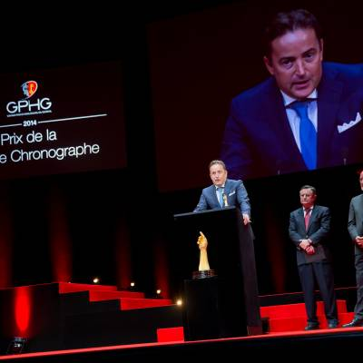 Pierre Jacques (CEO of De Bethune, winner of the Chronograph Watch Prize 2014), Moritz Elsaesser and Jean-Philippe Arm (jury members)