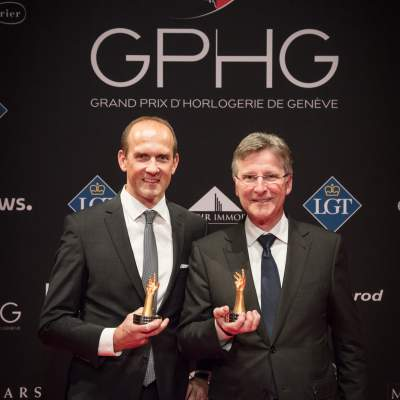 Steve Amstutz (Vice-President CCO of Parmigiani Fleurier) and Michel Parmigiani (President and Founder of Parmigiani Fleurier) winners of the Chronograph Watch Prize 2017 and the Travel Time Watch Prize 2017