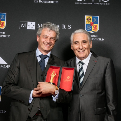 Lionel a Marca (Vice President, Head of Technical and Development Management de Blancpain, winner of the Artistic Crafts Watch Prize 2015) with Carlo Lamprecht (President of the Foundation of the GPHG)