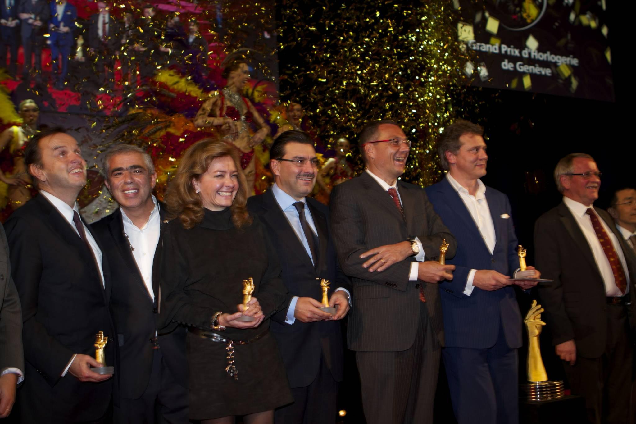 Stanislas de Quercise (CEO, Van Cleef & Arpels), Laurent Picciotto (Chronopassion), Caroline Scheufele (Co-president, Chopard), Juan-Carlos Torrès (CEO, Vacheron Constantin), Jean-Christophe Babin (CEO, TAG Heuer), François-Paul Journe (CEO, Montres Journe), Sven Andersen (AHCI), 2010 ceremony