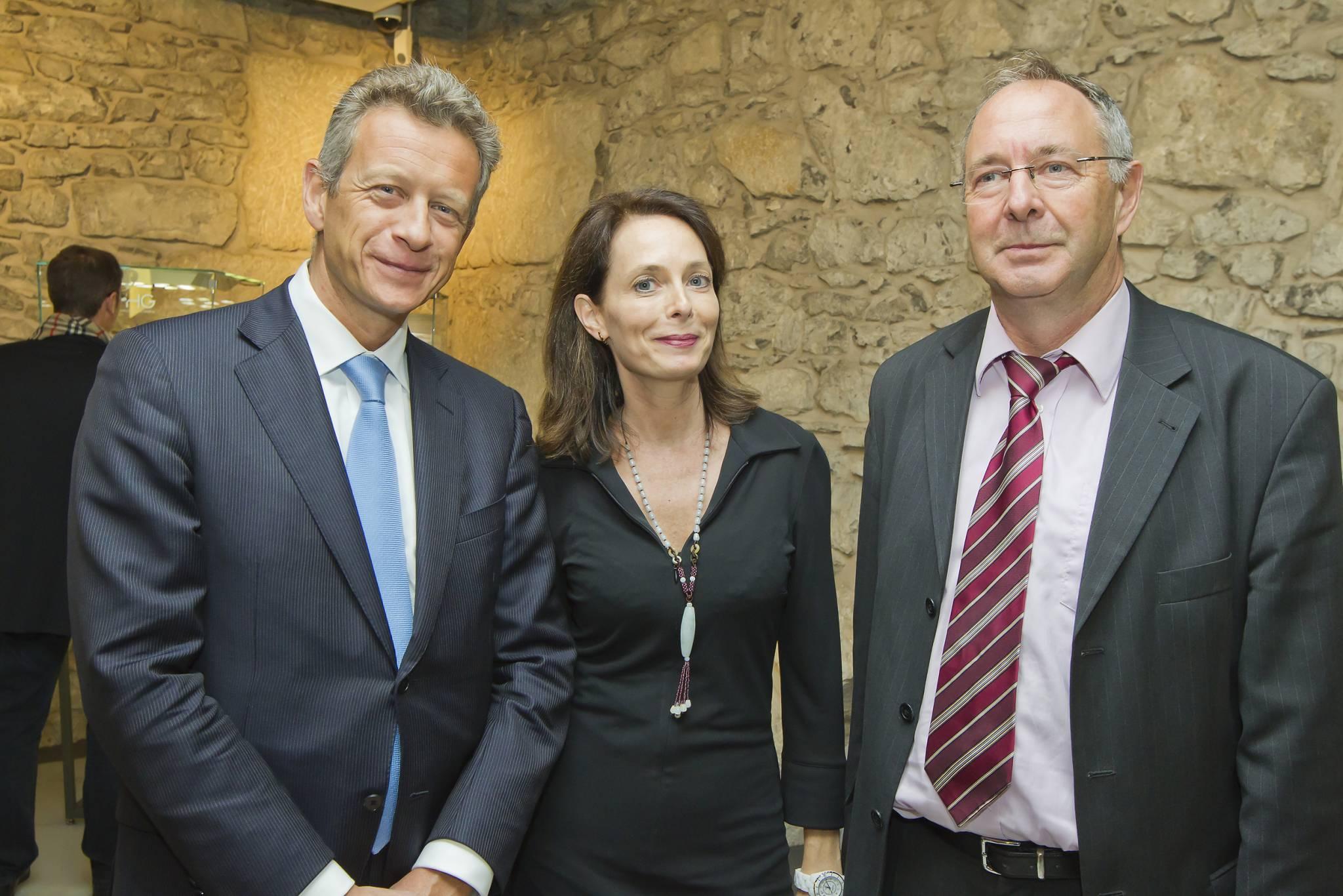 Benoît Clivio, Director of Banque Privée Edmond de Rothschild (BPER) and Valérie Boscat, Communication director of BPER and Daniel Favre, President of TimeLab, November 8th, 2011