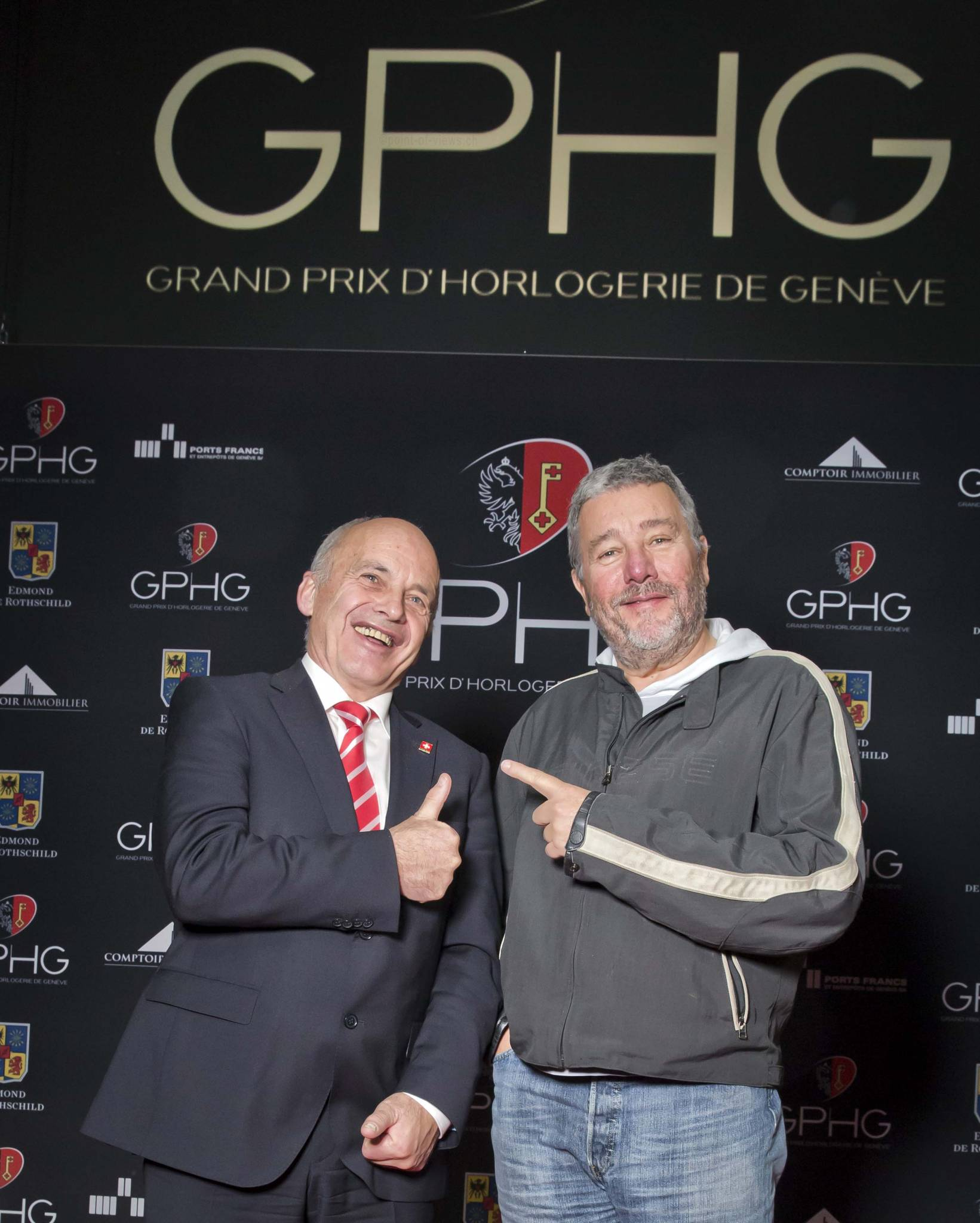 Ueli Maurer, président of the Swiss Confédération and Philippe Starck, members of the jury 2013