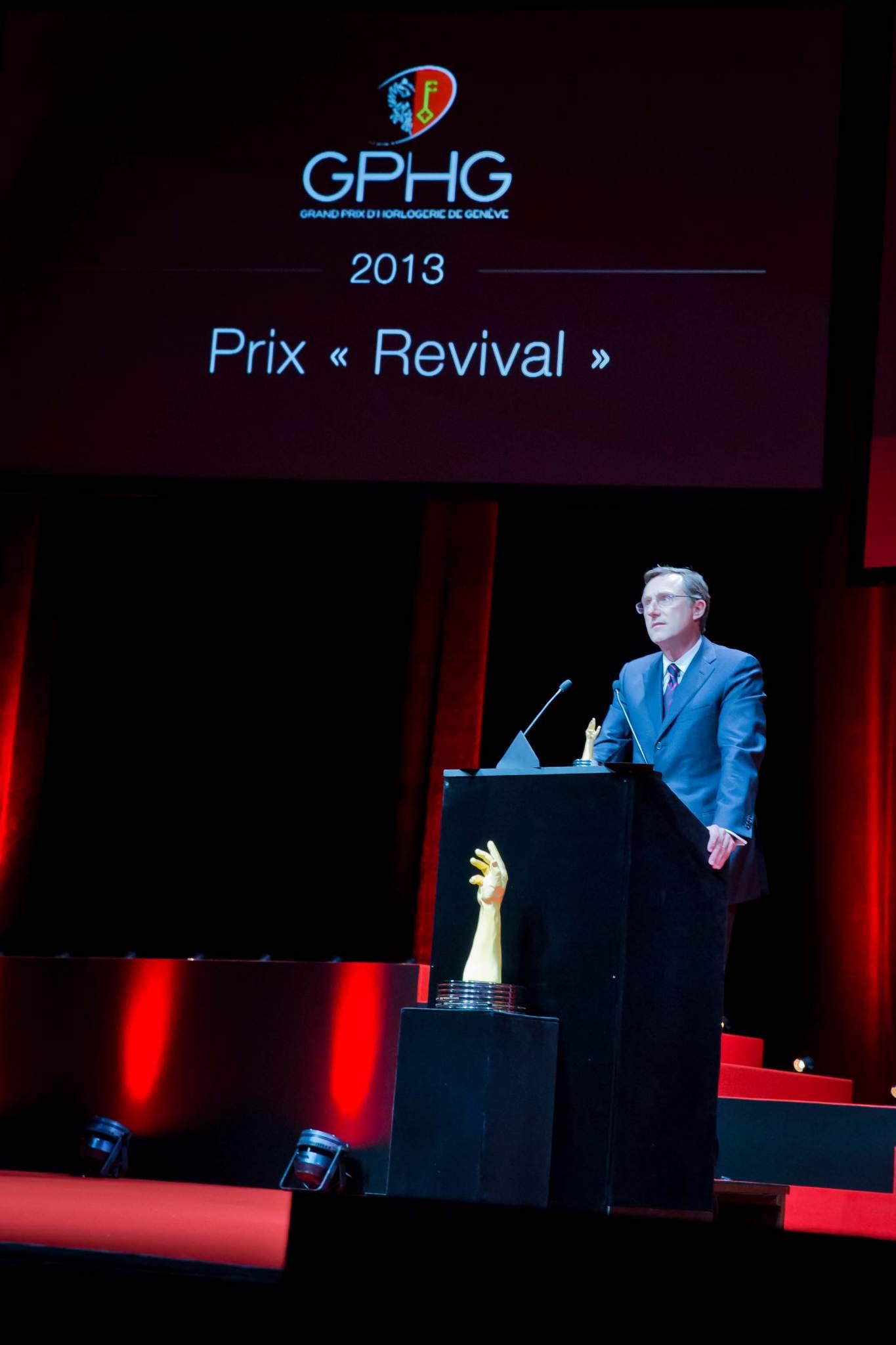 Speech of Philippe Peverelli, CEO of Tudor, winner of the « Revival » Prize 2013