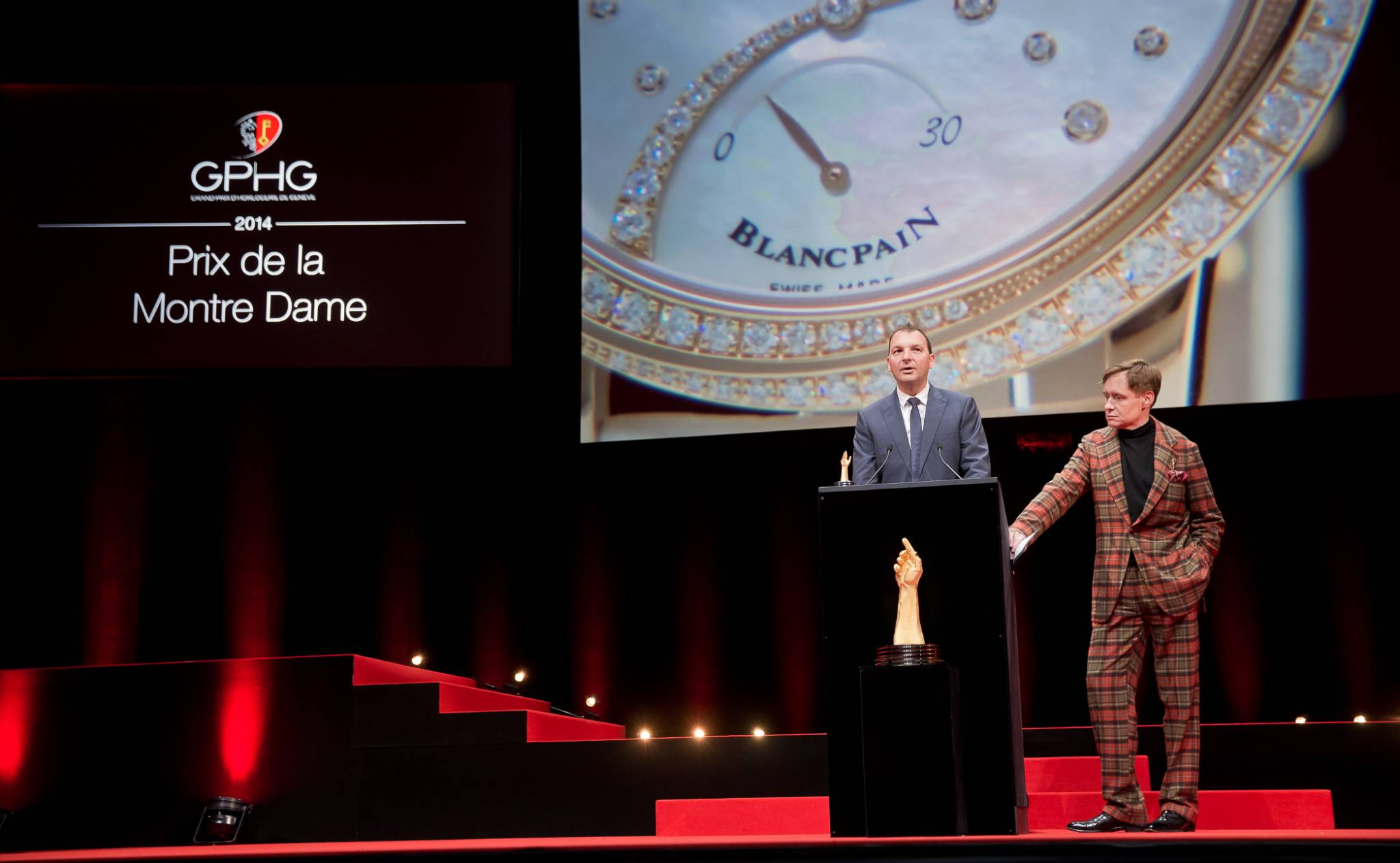 Vincent Becchia (Product director of Blancpain, winner of the Ladies' Watch Prize 2014) and Nick Foulkes (jury member)