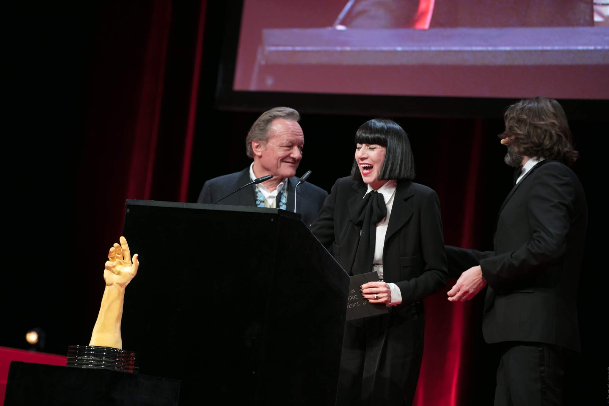 Pierre Maillard, Chantal Thomass (jury members) and Frédéric Beigbeder (MC of the prize-giving ceremony of the GPHG 16)
