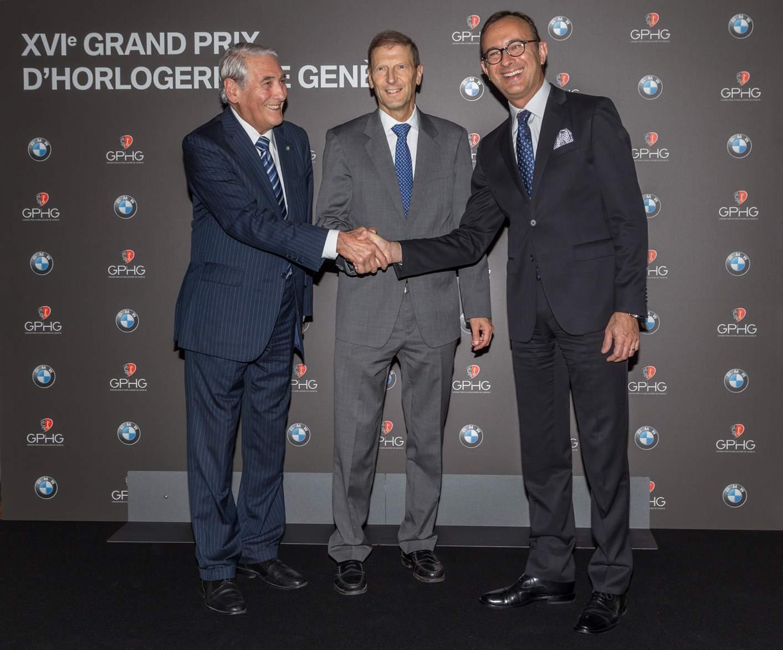 Carlo Lamprecht, Presidente della Fondation du GPHG, Sua Eccellenza Giancarlo Kessler, Ambasicatore della Svizzera in Italia e Sergio Solero, Presidente ed Amministratore delegato per BMW Italia