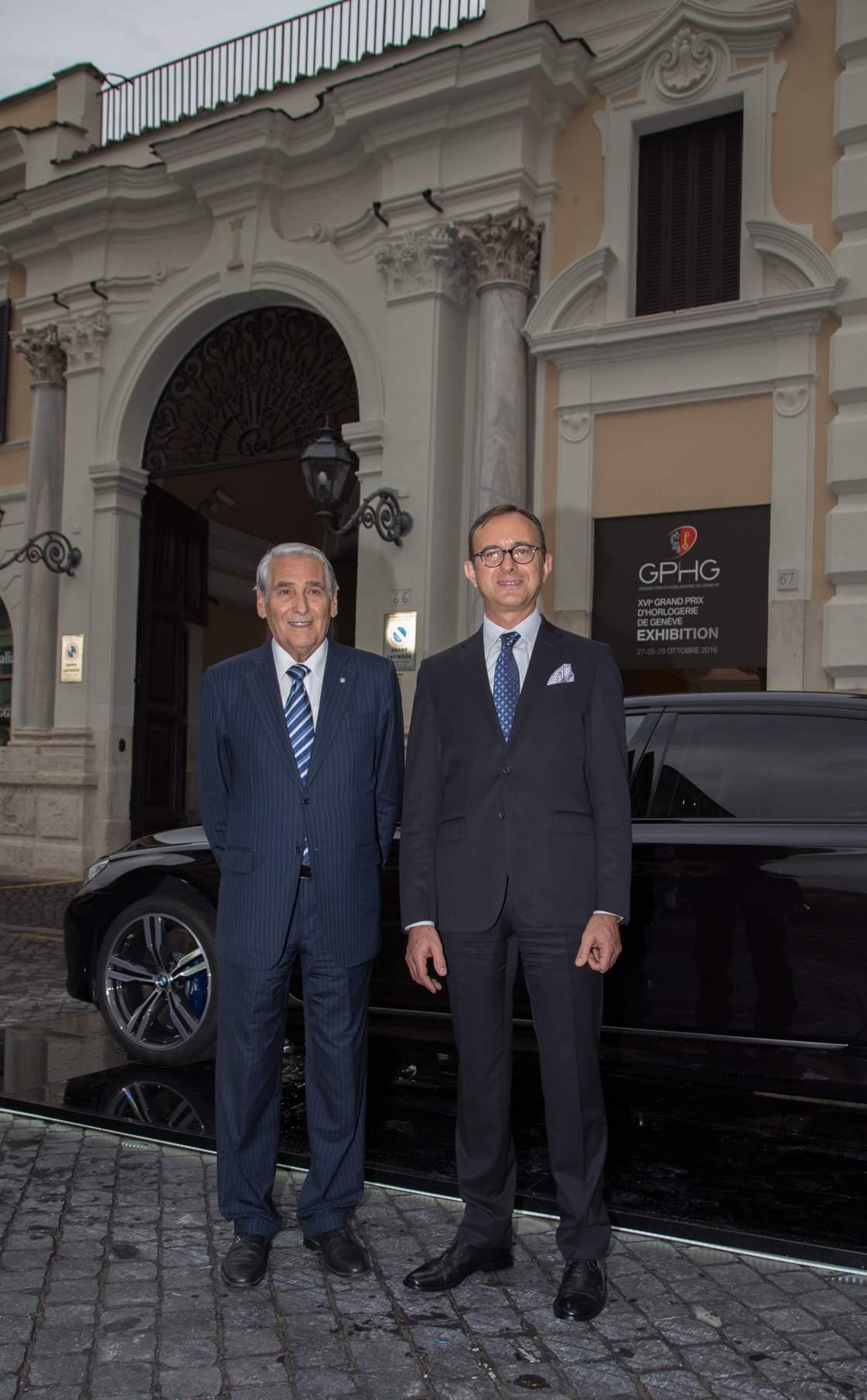 Carlo Lamprecht, Presidente della Fondation du GPHG e Sergio Solero, Presidente ed Amministratore delegato per BMW Italia