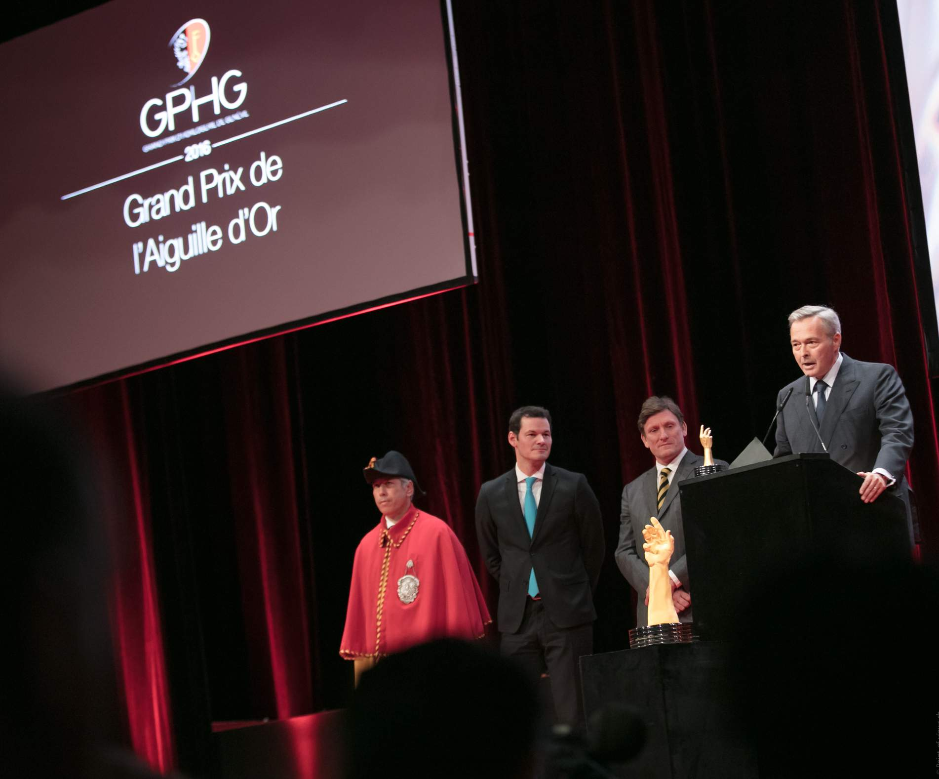 "Pierre Maudet (State Councillor), Steven Forsey (Co-founder of Greubel & Forsey) and Karl-Friedrich Scheufele  (President of Chronométrie Ferdinand Berthoud, winner of the ""Aiguille d'Or"" Grand Prix 2016)"