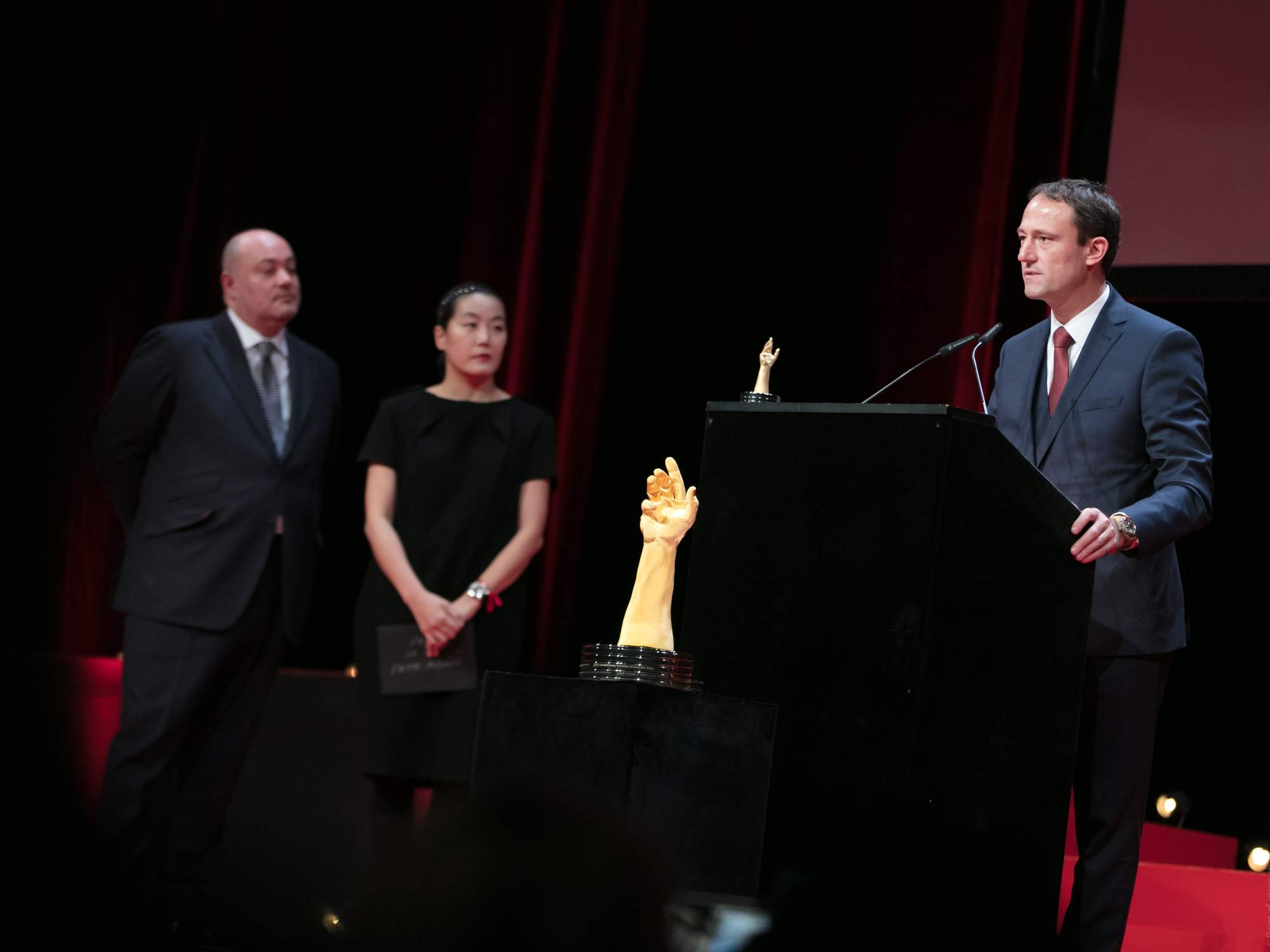William Rohr, Heekyung Jung (jury members) and Eric Pirson (Director of Tudor, winner of the « Petite Aiguille » Watch Prize 2016)