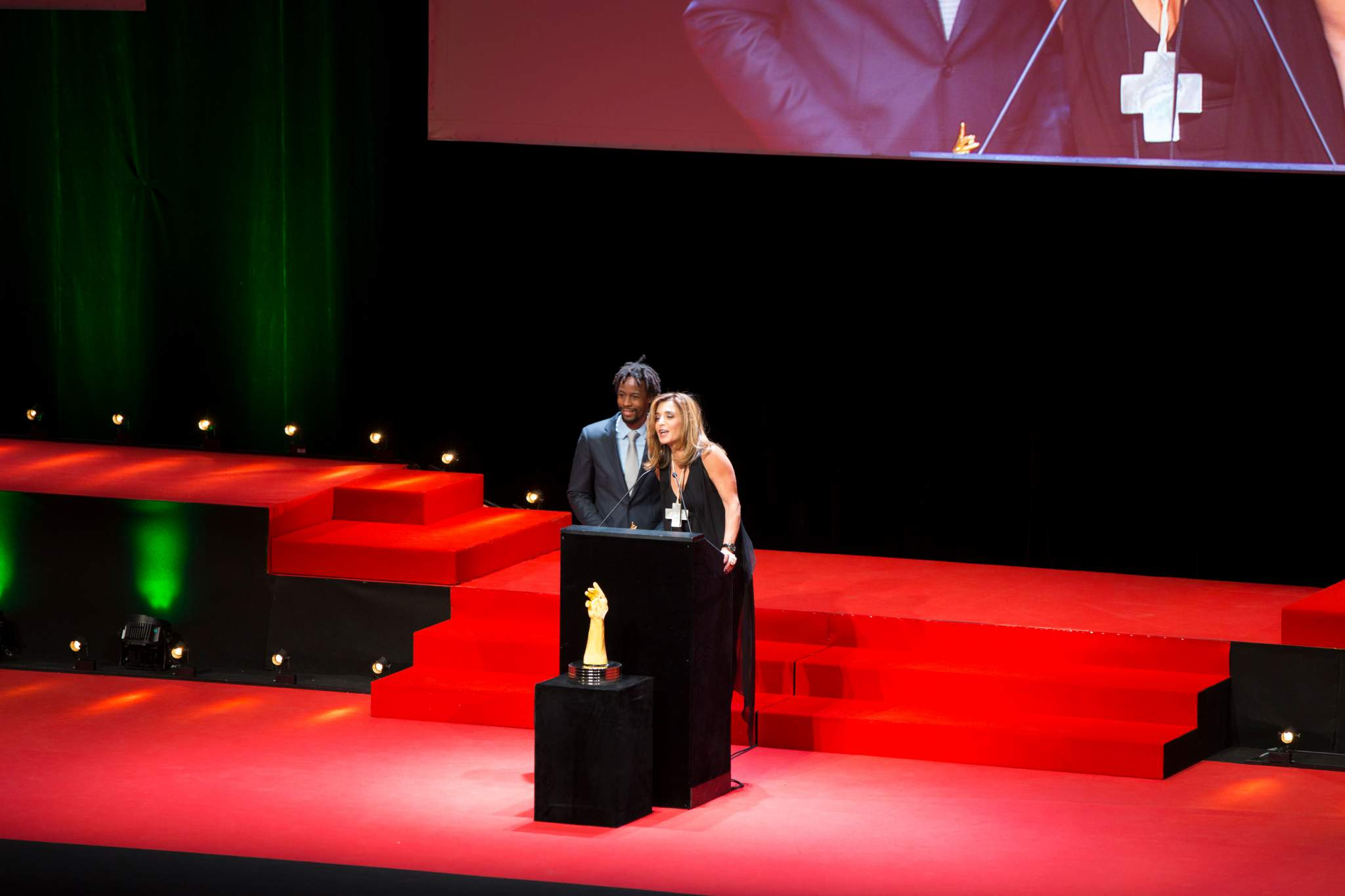 Gaël Monfils and Nazanin Lankarani (members of the jury of the GPHG 2017)