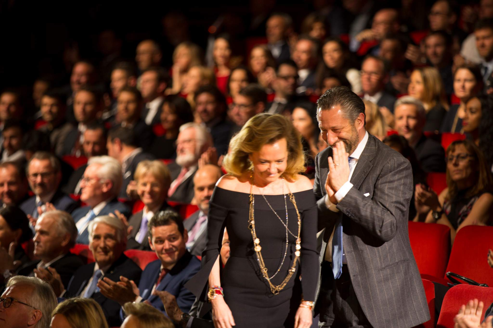 "Caroline Scheufele (Co-President of Chopard, winner of the ""Aiguille d'Or"" Grand Prix 2017 and the Jewellery Watch Prize 2017) and Aurel Bacs (President of the jury of the GPHG 17)"