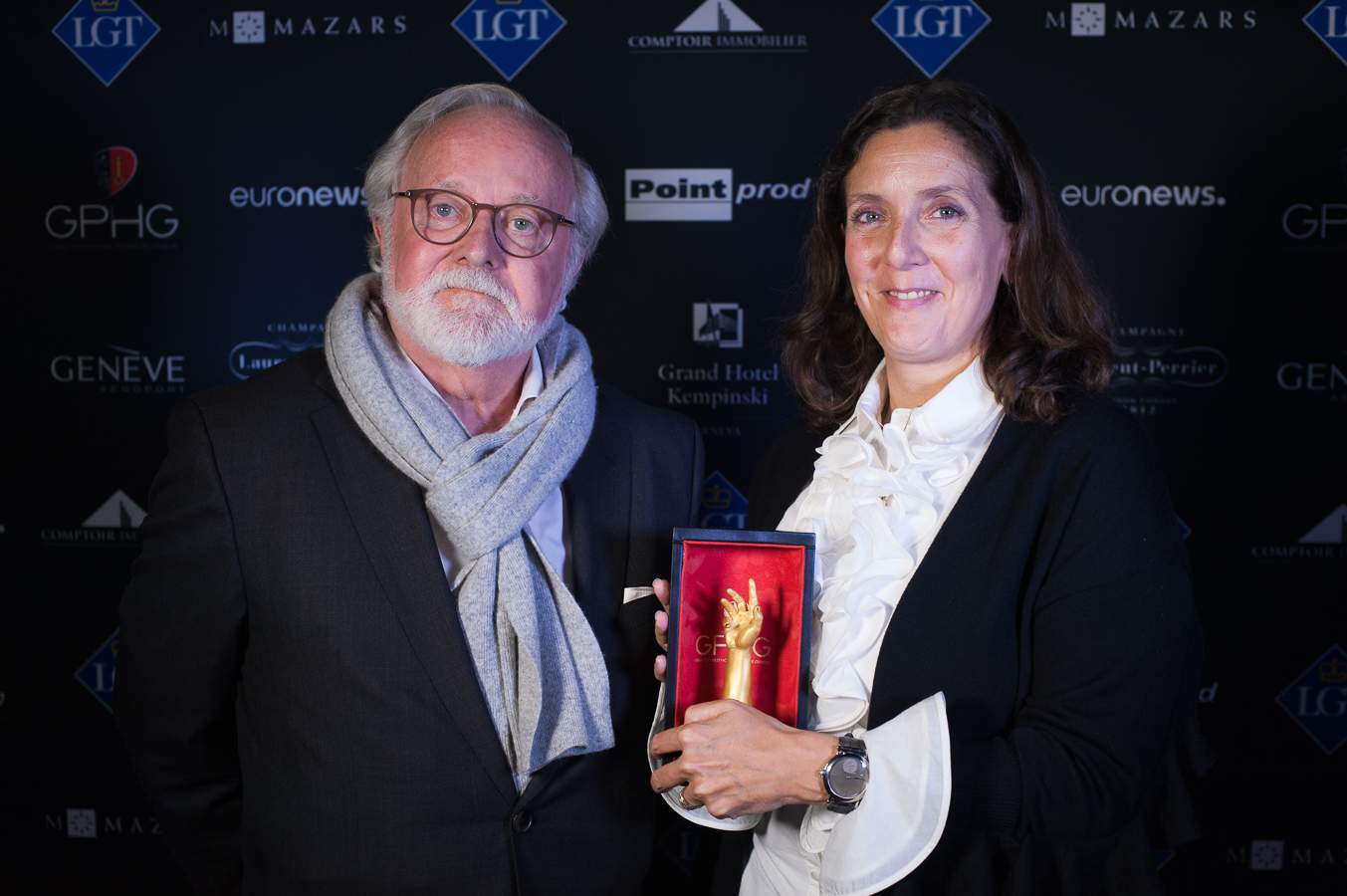 Laurent Ferrier, Founder and Vanessa Monestel, CEO Laurent Ferrier, winners of the Men's Complication Watch Prize 2018