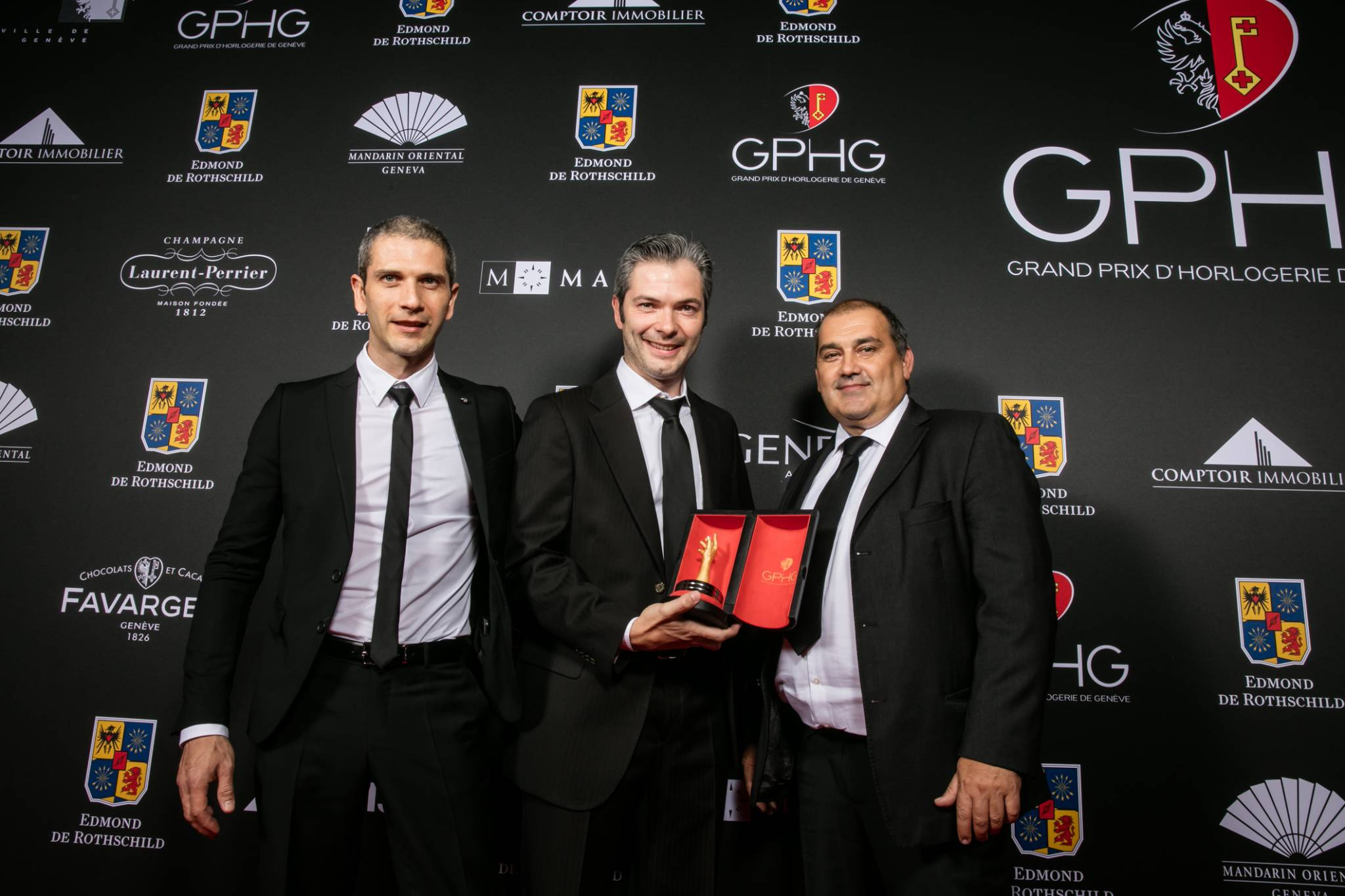 Micke Pintus, Yannick Pintus, Jean-Luc Perrin (watchmakers of Vacheron Constantin, winner of the Special Jury Prize)