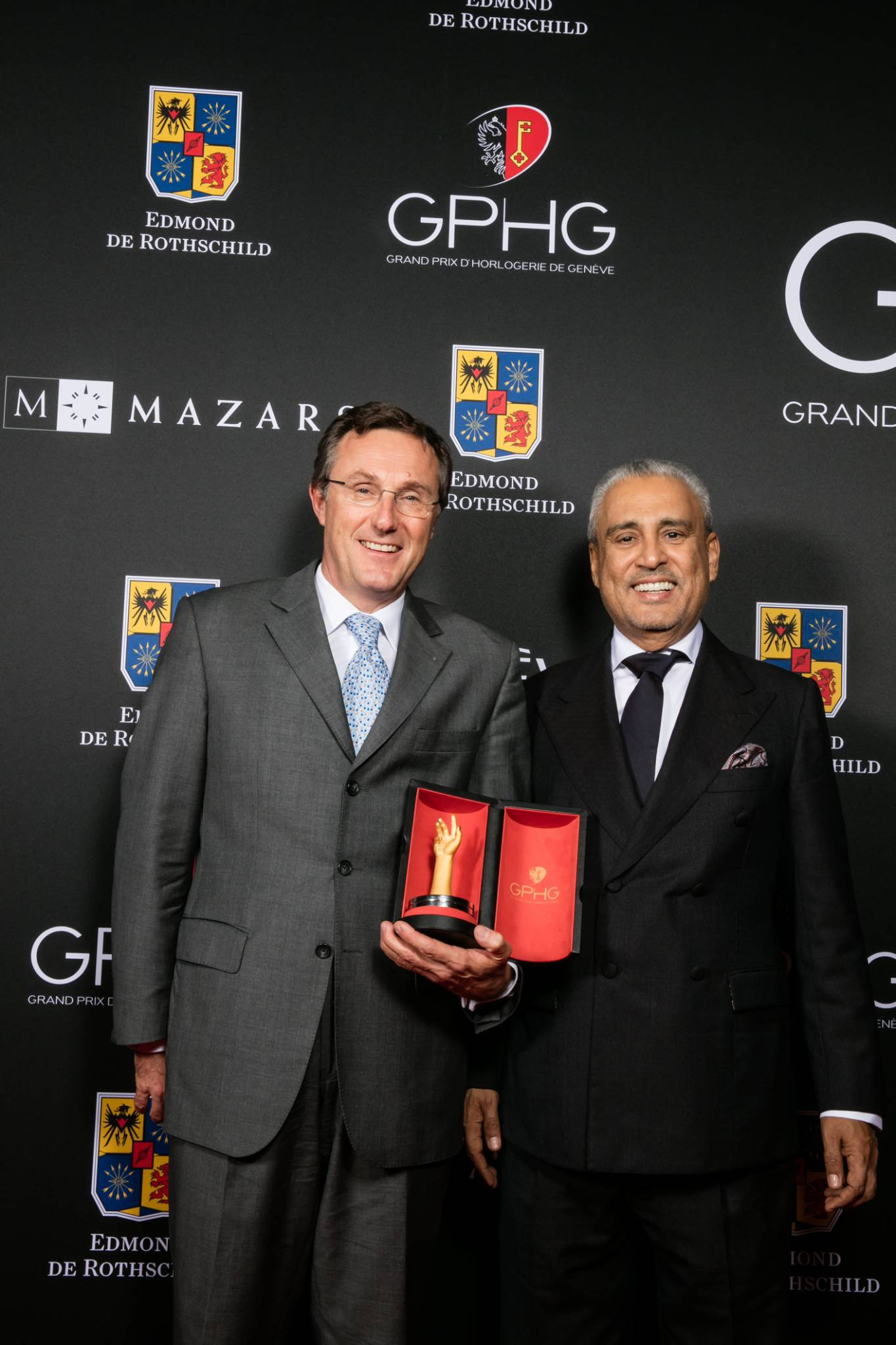 Philippe Peverelli (CEO of Tudor, winner of the Sport Watch Prize 2015) with Abdul Hamied Seddiqi (Vice-chairman of Ahmed Seddiqi & Sons and jury member)