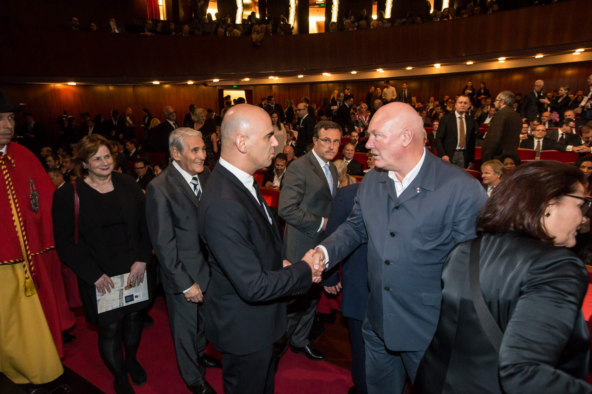 Alain Berset (Federal Councillor) and Jean-Claude Biver (President of the Watch Division of the LVMH Group and Chairman of Hublot) at the prize-giving ceremony of the GPHG 2015