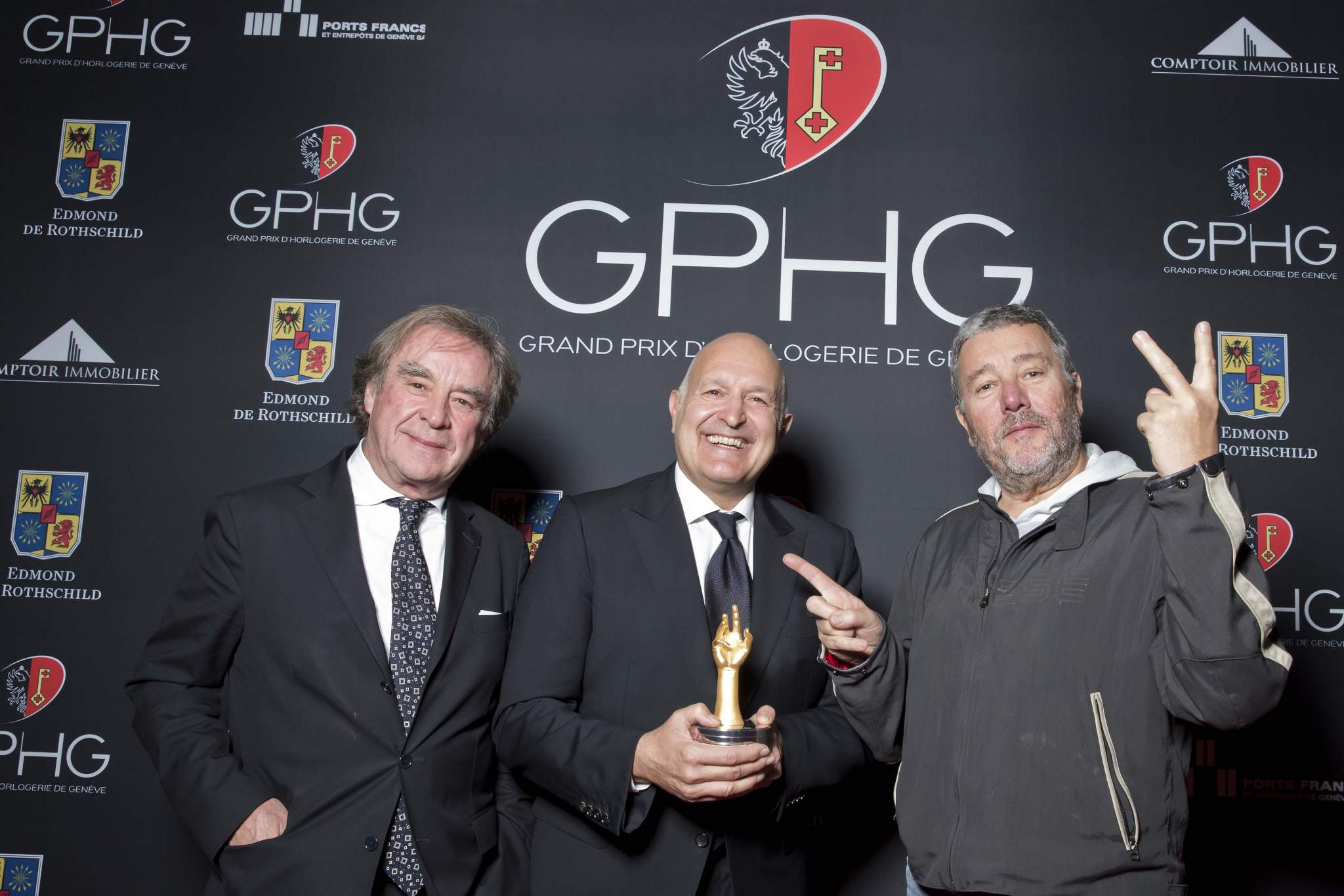 Michele Sofisti, CEO of Girard-Perregaux,winner of the « Aiguille d'Or » 2013, with Philippe Starck and Jean-Michel Wilmotte (jury members 2013)