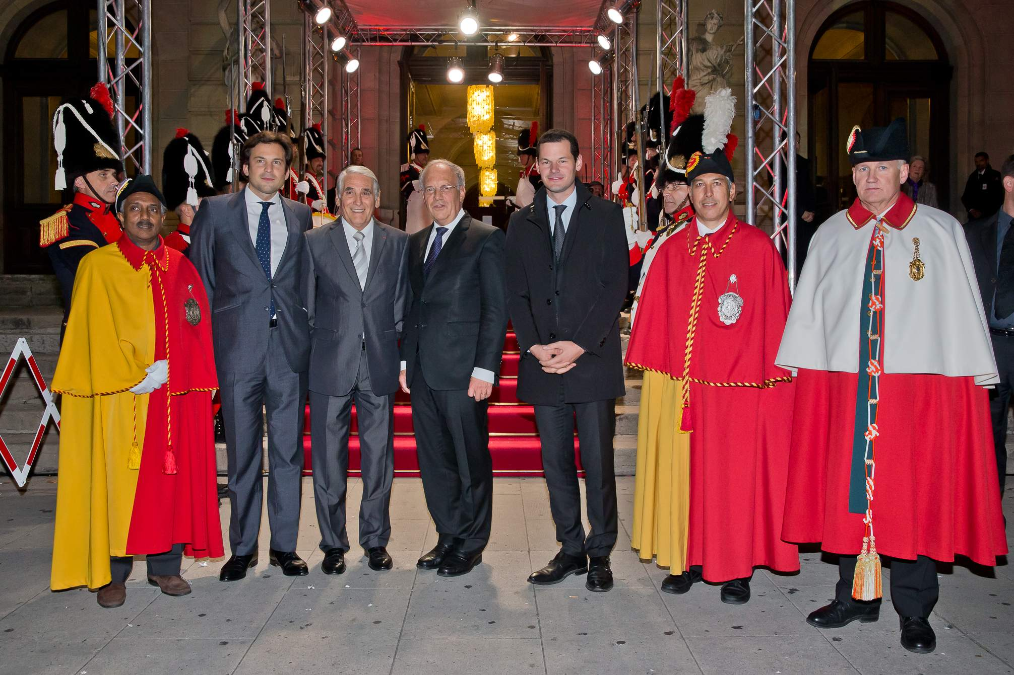Guillaume Barazzone (Conseiller national et conseiller administratif de la Ville de Genève), Carlo Lamprecht (Président de la Fondation du GPHG), Johann Schneider-Ammann (Conseiller fédéral), Pierre Maudet (Conseiller d'Etat)
