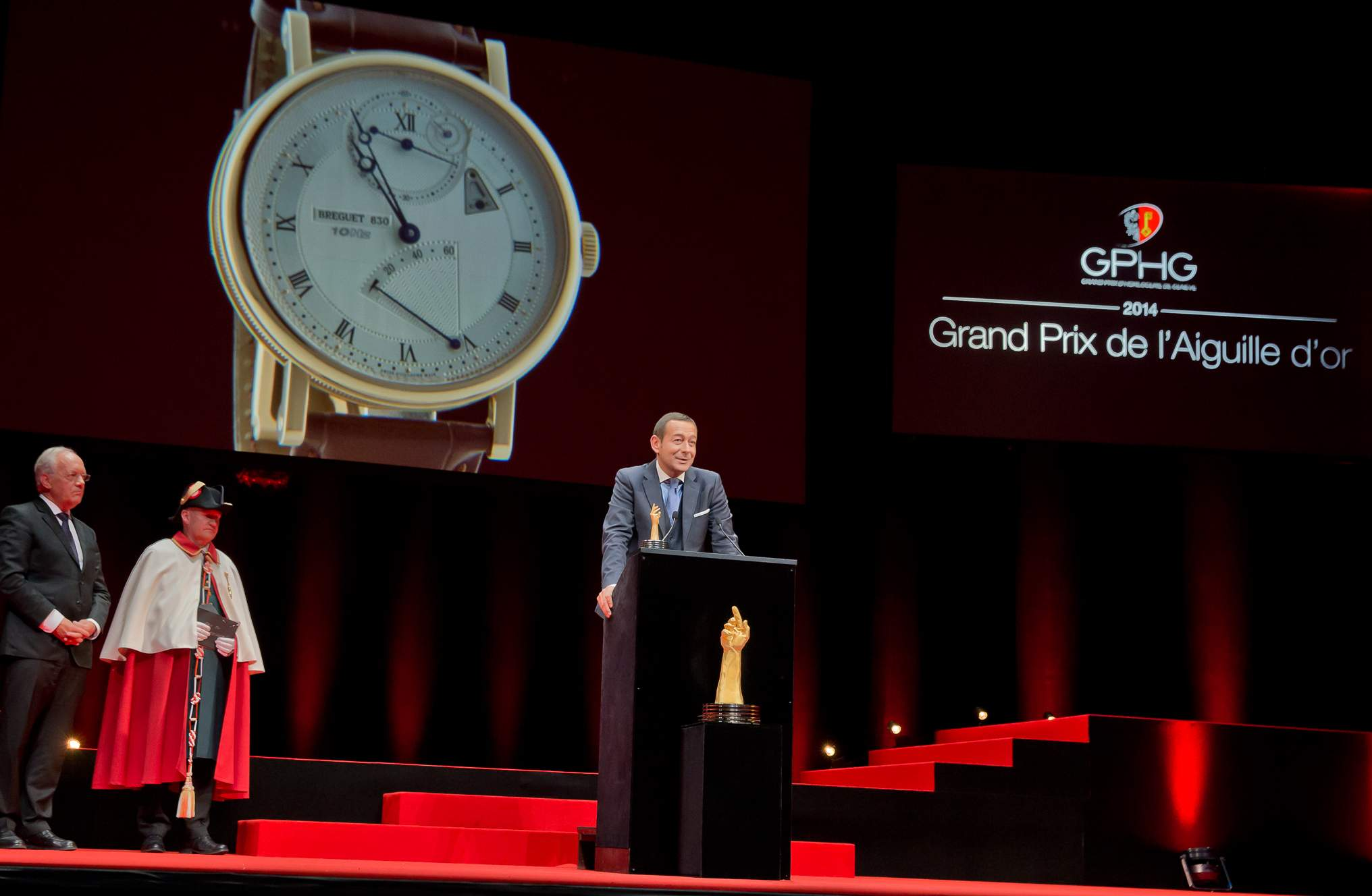 Johann Schneider-Ammann (Federal councillor) and Jean-Charles Zufferey (Vice-president of Breguet, winner of the « Aiguille d'Or » Grand Prix 2014)