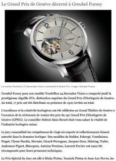 24 heures - Le Grand Prix de Genève décerné à Greubel Forsey