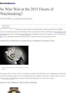 bloomberg - So Who Won at the 2015 Oscars of Watchmaking?
