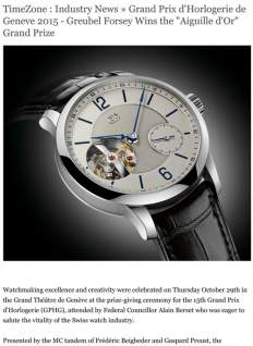 "TimeZone - Industry News » Grand Prix d'Horlogerie de Geneve 2015 - Greubel Forsey Wins the ""Aiguille d'Or"" Grand Prize"