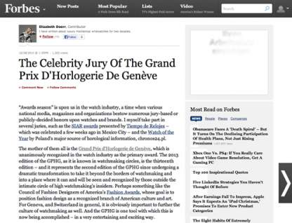 forbes.com - The Celebrity Jury Of The Grand Prix D'Horlogerie De Genève