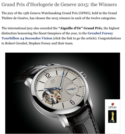 time and watches gphg