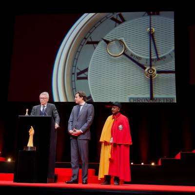 Dr Helmut Crott (Owner of the brand Urban Jürgensen & Sonner, winner of the Men's Watch Prize 2014) and Guillaume Barazzone (National councillor and administrativ councillor of the city of Geneva)