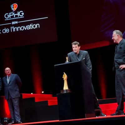 Benjamin Clymer and William Rohr (jury members), Felix Baumgartner and Martin Frei (Co-founders of Urwerk, winner of the Innovation Watch Prize 2014)