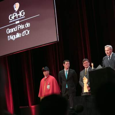 "Pierre Maudet (State Councillor), Steven Forsey (Co-founder of Greubel & Forsey) and Karl-Friedrich Scheufele  (President of Chronométrie Ferdinand Berthoud, winner of the ""Aiguille d'Or"" Grand Prix 2016)"