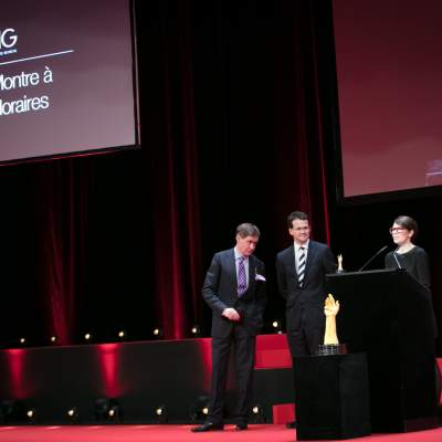 Nick Foulkes (jury member), Sean Gilbertson and Aurélie Picaud (CEO and Timepieces Director of Fabergé, winner of the Travel Time Watch Prize 2016)