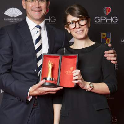 Sean Gilbertson and Aurélie Picaud (CEO and Timepieces Director of Fabergé, winner of the Travel Time Watch Prize 2016)
