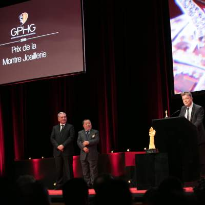 Claude Sfeir, Takeshi Matsuyama (jury members) and Nicolas Beau (International Watch Director of Chanel, winner of the Jewellery Watch Prize 2016)