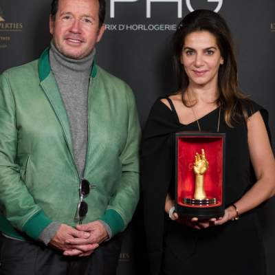 "Chabi Nouri, CEO of Piaget, winner of the ""Aiguille d'Or"" Grand Prix and François-Henry Bennahmias, CEO of Audemars Piguet"