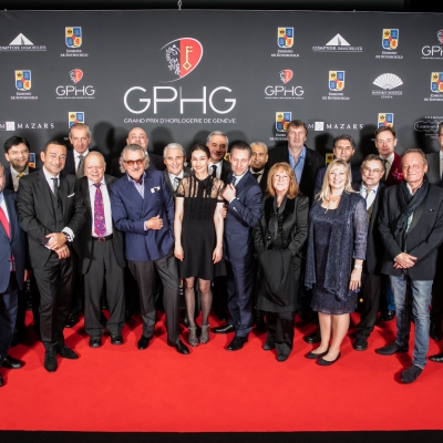 Jury members of the GPHG 2015, with Carine Maillard and Carlo Lamprecht (Director and President of the GPHG)