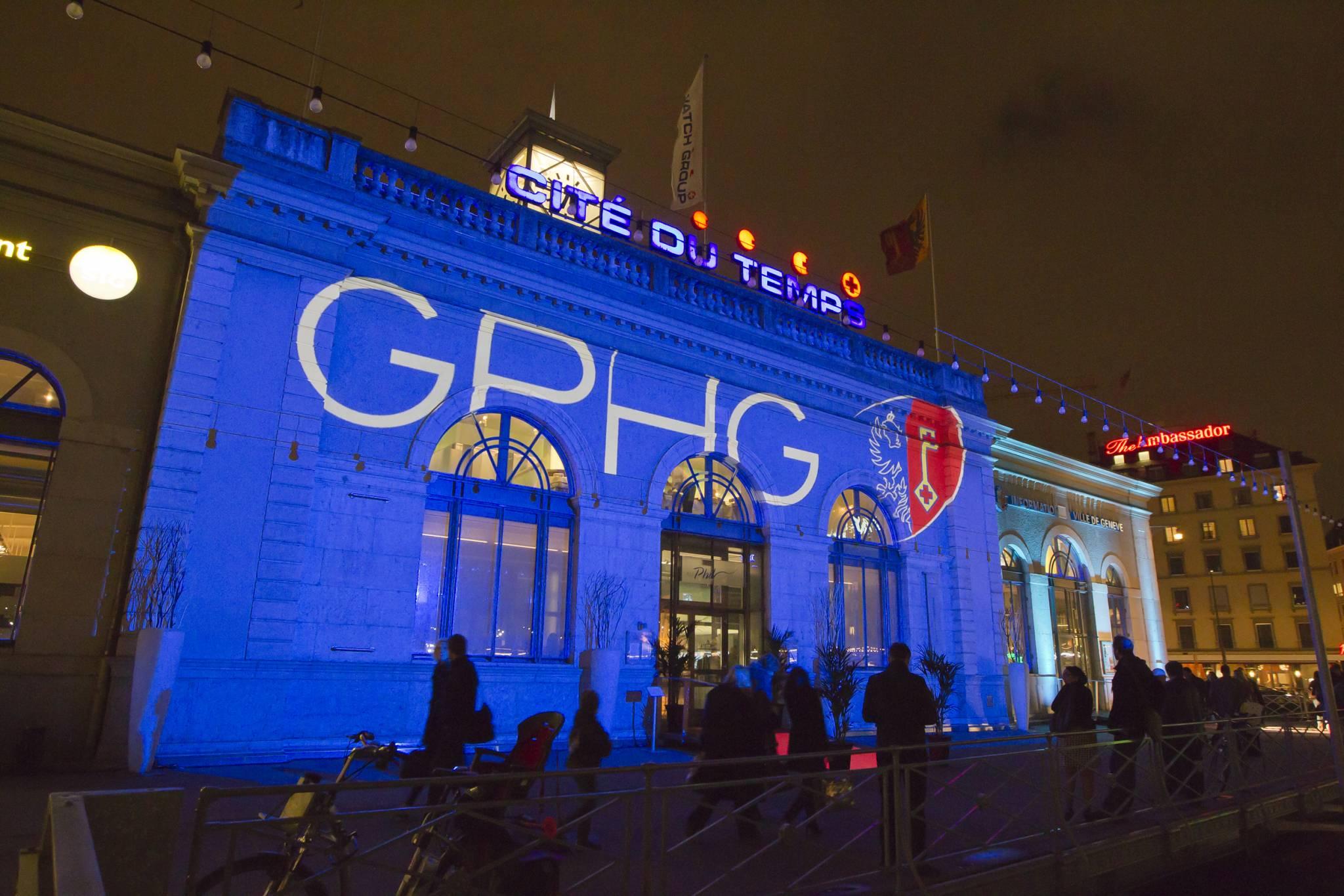 The Cité du Temps illuminated during the Geneva exhibition, November 8th, 2011