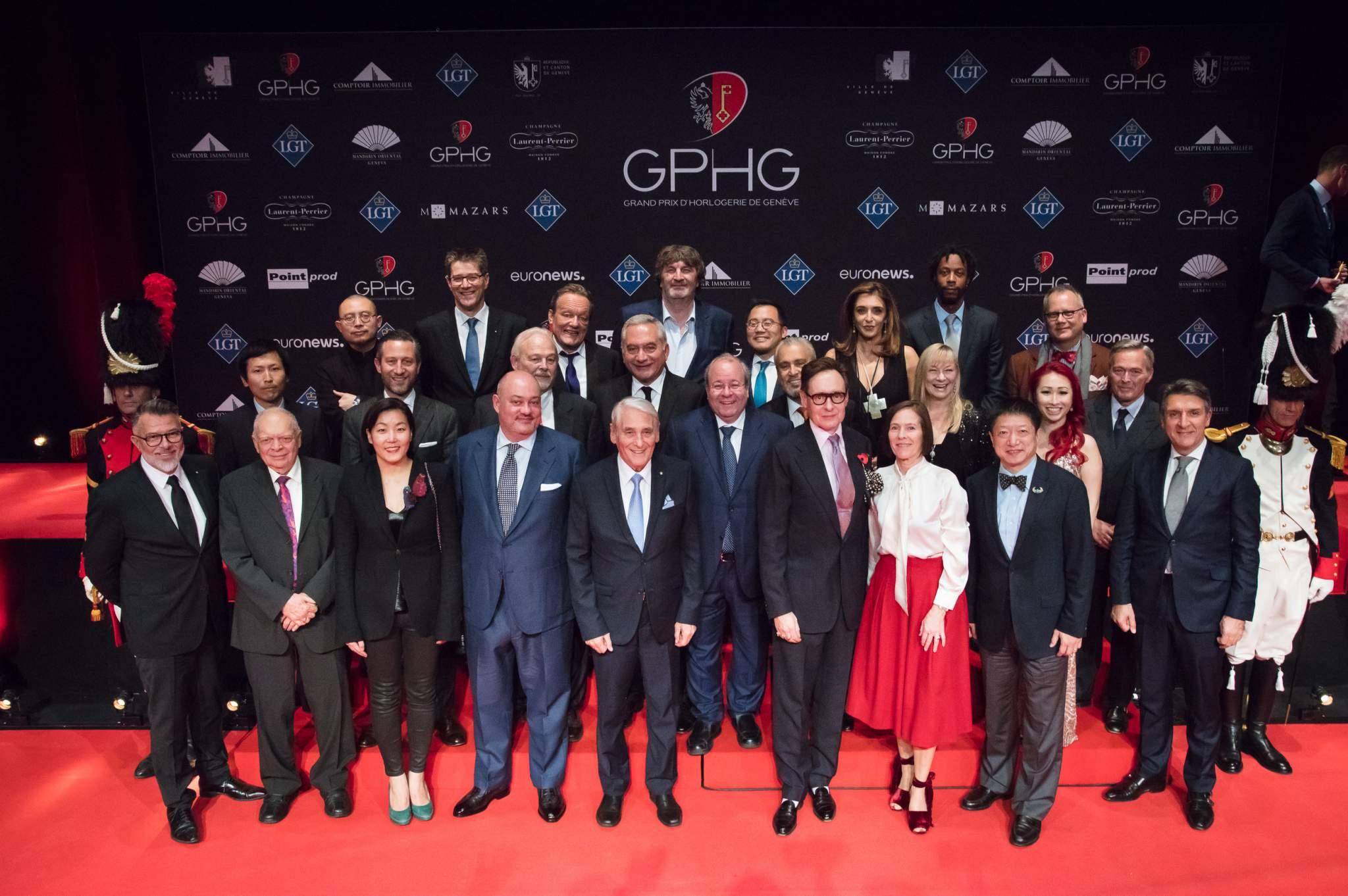 Jury members of the GPHG 17 with Carlo Lamprecht (President of the GPHG Foundation)