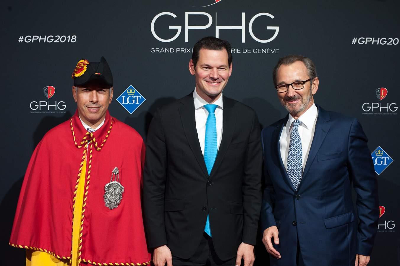 Pierre Maudet, Geneva State Concillor and Raymond Loretan, president of the GPHG Foundation