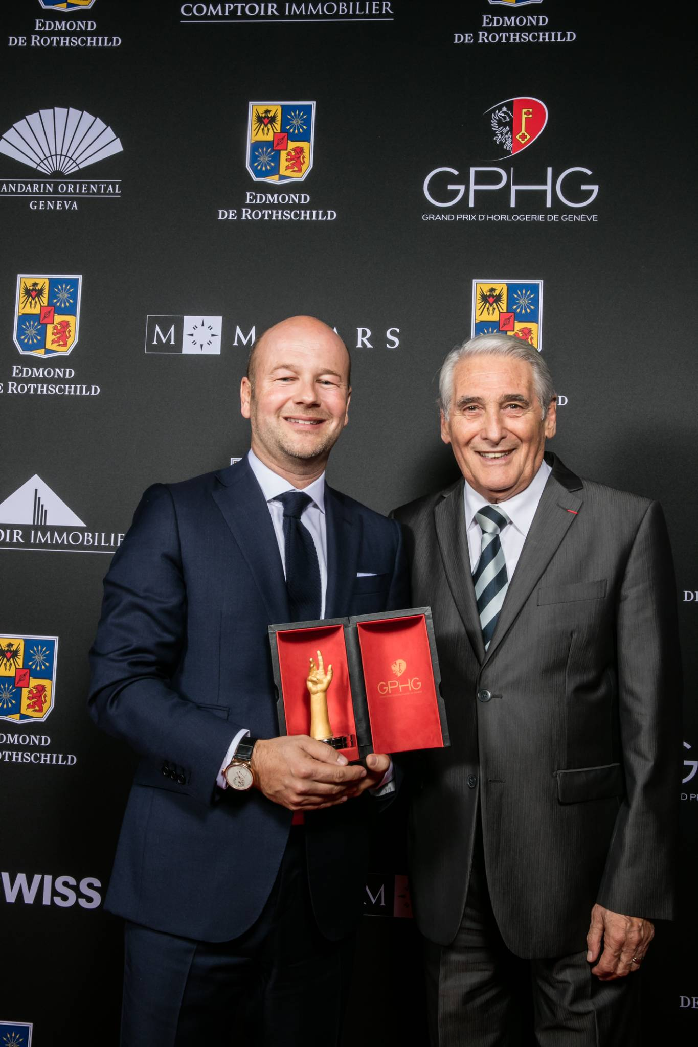 Christian Lattmann (Senior Executive Vice President of Jaquet Droz, winner of the Mechanical Exception Watch Prize 2015) and Carlo Lamprecht (President of the Foundation of the GPHG)