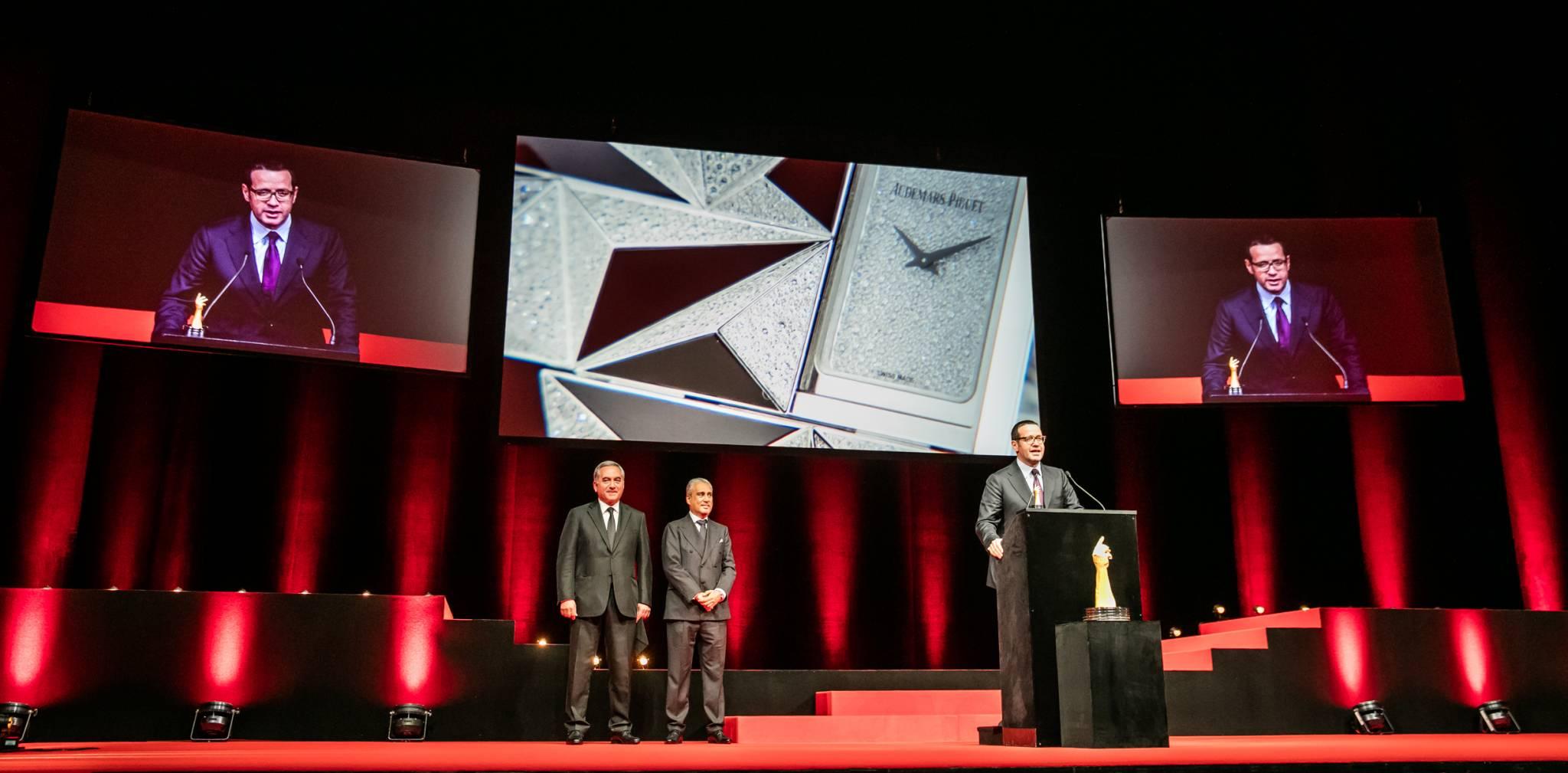 François Bennahmias (CEO of Audemars Piguet, winner of the Jewellery Watch Prize 2015) with Claude Sfeir and Abdul Hamied Seddiqi (jury members)
