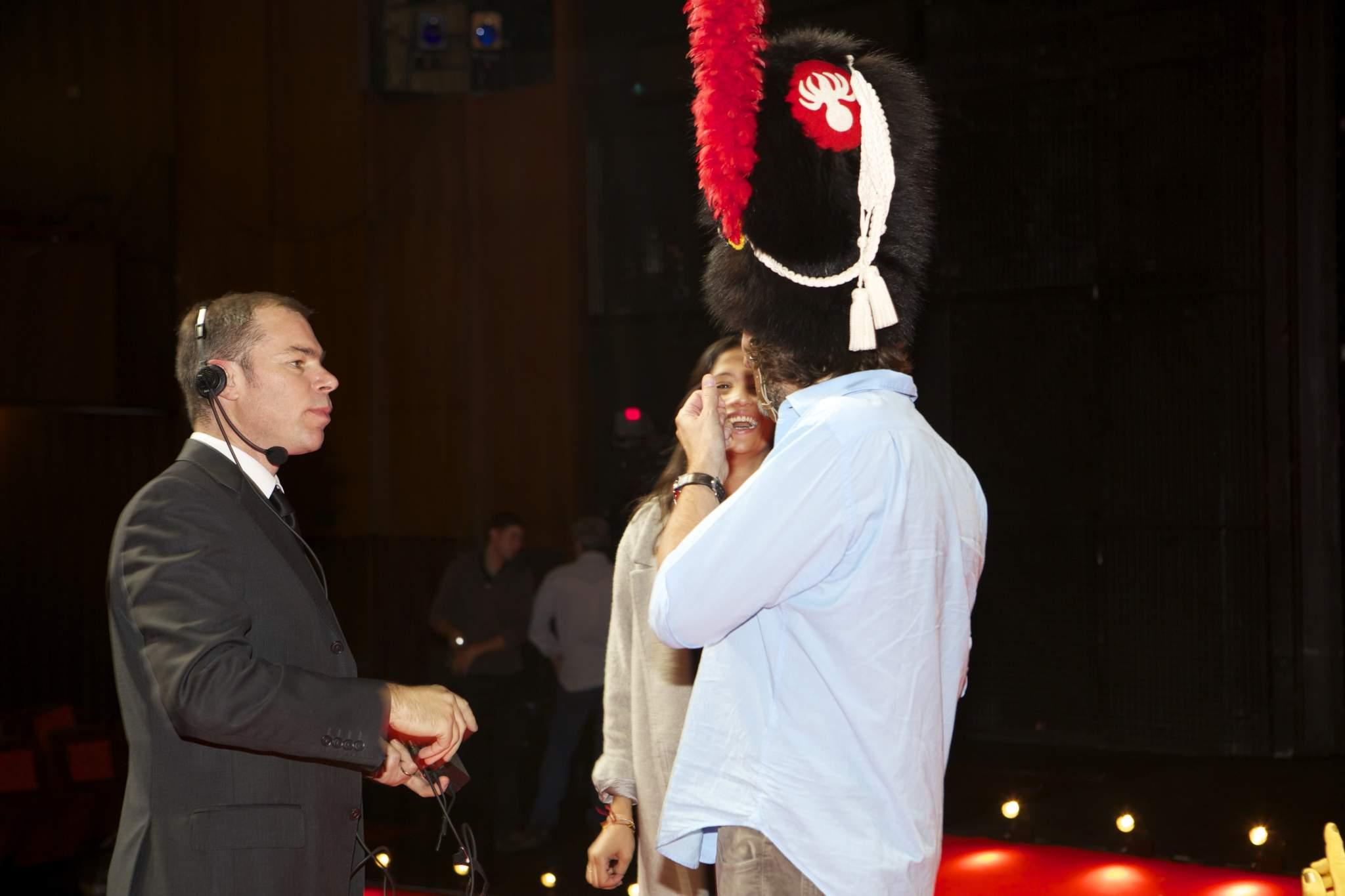 Vincent Gonet (CEO de Point Prod' SA), Melanie Winiger et Frédéric Beigbeder (présentateurs de la cérémonie du GPHG 2014)