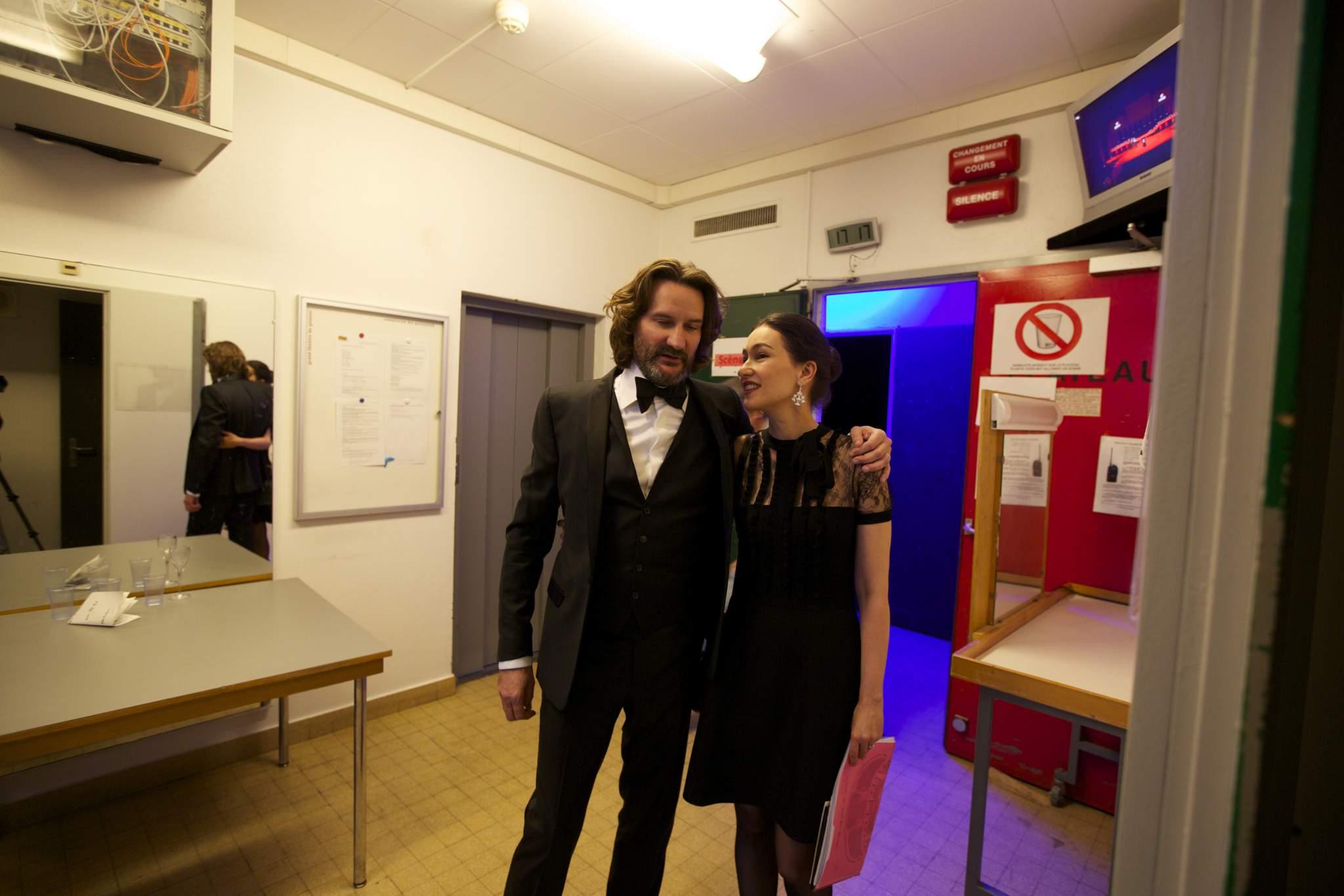 Frédéric Beigbeder (présentateur de la cérémonie du GPHG 2015) et Carine Maillard (Directrice de la Fondation du GPHG)