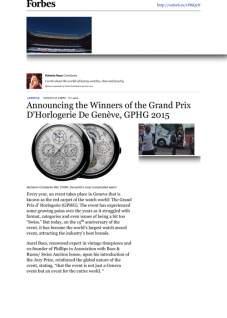 forbes - Announcing the Winners of the Grand Prix D'Horlogerie De Genève, GPHG 2015