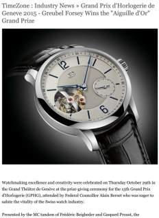 "TimeZone - Industry News » Grand Prix d'Horlogerie de Geneve 2015 - Greubel Forsey Wins the ""Aiguille d'Or"" Grand Prize"