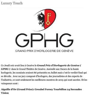 luxury touch - gphg 2015