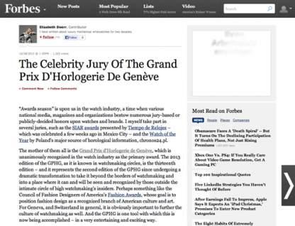 forbes.com - The Celebrity Jury Of The Grand Prix D'Horlogerie De Genève